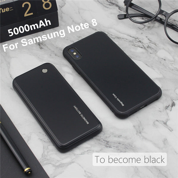 half off 6736a 827e7 5000mAh Wireless Magnetic Battery Charging Cases For Samsung Galaxy phones