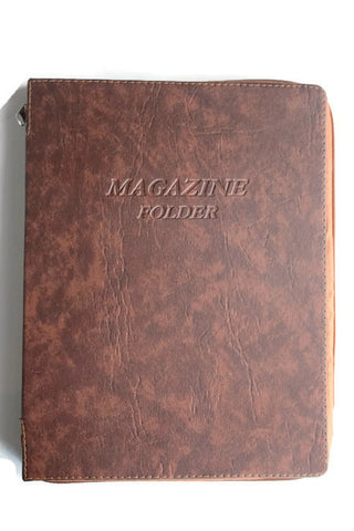 Magazine Folder with zipper in Brown