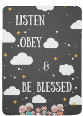 Baby Blanket:  Listen Obey & Be Blessed - K. GRANT PUBLISHING