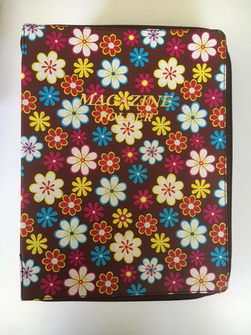 Magazine folder with zipper in Brown Floral