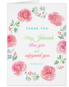 Thank you Card Numbers 6:24 - K. GRANT PUBLISHING Jehovah's witness jw gift products