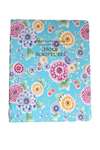 Large Bible Cover:  Light Blue Flowers