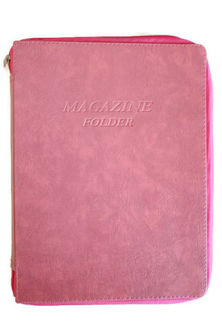 Magazine folder with zipper in Marble Pink