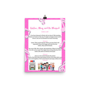 Listen, Obey, and Be Blessed lyrics poster pink - K. GRANT PUBLISHING Jehovah's witness jw gift products