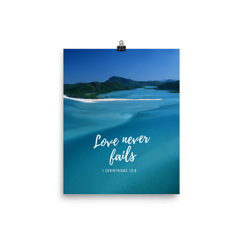 Poster:  Love never fails