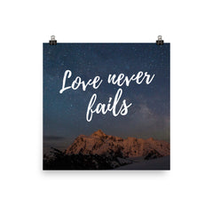 Poster:  Love never fails - K. GRANT PUBLISHING  - 3
