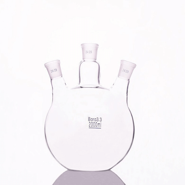 Flat Bottom Flasks Jointed Three Neck, Borosilicate Glass
