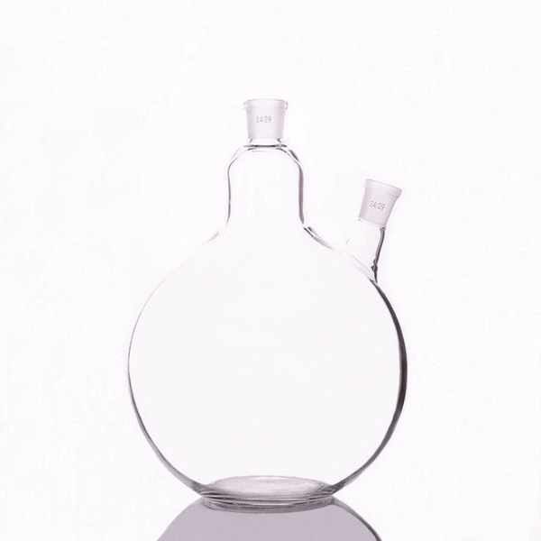 Flat Bottom Flasks Jointed Two Neck, Borosilicate Glass