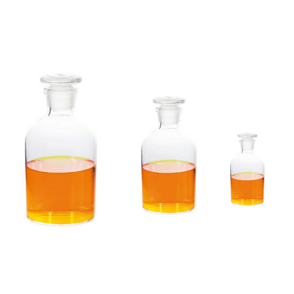 Reagent Bottles, Narrow Mouth, Flat Pressed Glass Stopper, Borosilicate Clear Glass -  Science Lab Equipment | Science Equip Australia