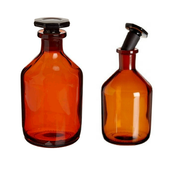 Reagent Bottles, Narrow Mouth, Flat Pressed Glass Stopper, Borosilicate AMBER Glass -  Science Lab Equipment | Science Equip Australia