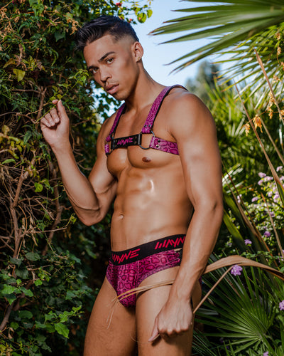 Magenta Python Lace Up Brief