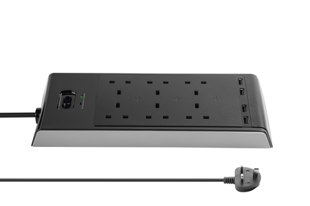 """Smart Surge 6"" with 4 USB Ports (Black)"