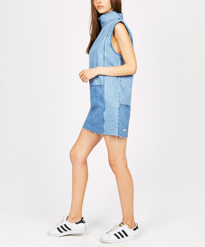 DENIM PATCH SHIFT DRESS