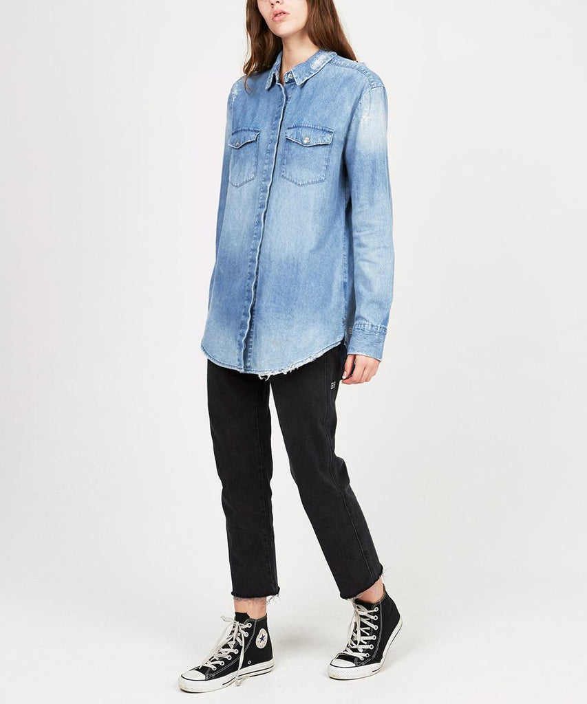 PATTI SMITH SHIRT BLUE GRIT TRASHED