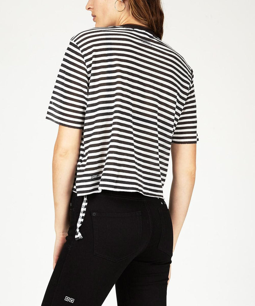 SLASHER CROP T-SHIRT STRUMMER  STRIPE
