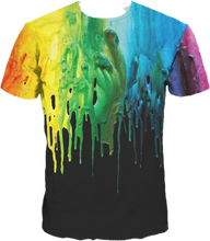 3D Full Print T-shirt - Rainbow Paint Splatter