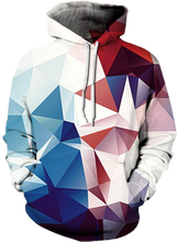 3D Full Print Hoodie - Prism Red and Blue