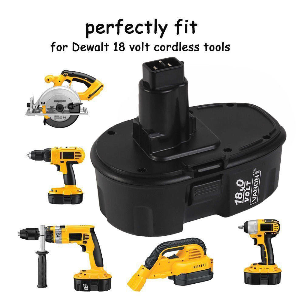 For Dewalt 18V Battery Replacement | DC9096 2.0Ah Ni-CD Black