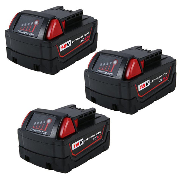 For Milwaukee 18V M18 Battery | 4.0Ah Lithium-Ion Replacement 3-Pack Batteries