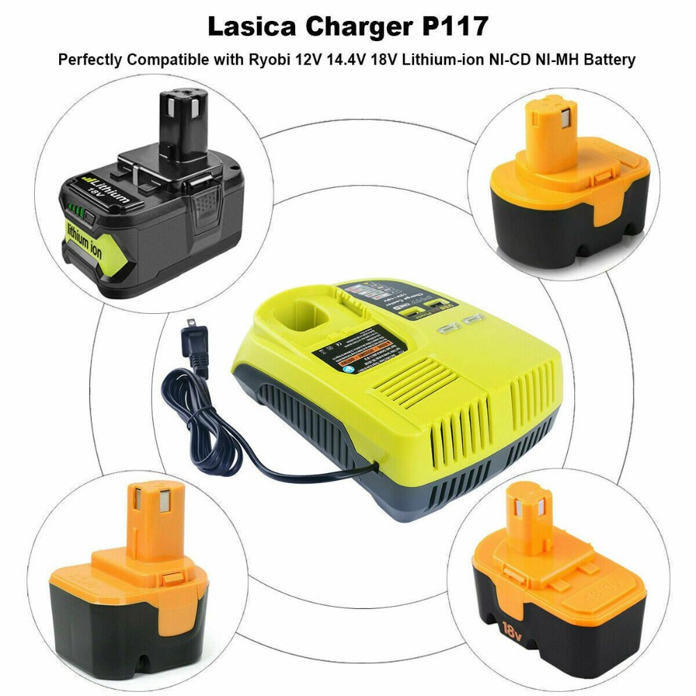 For Ryobi One Plus Battery Charger P117 | 18V-12V