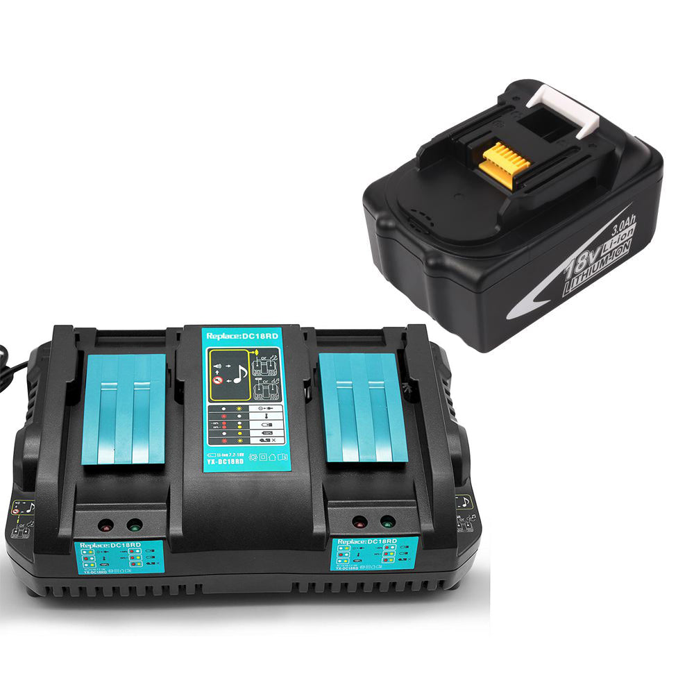 For Makita 18V BL1830 3.0Ah Battery & For Makita 18V Battery Charger