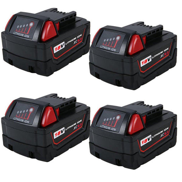 For Milwaukee 18V M18 Battery | 4.0Ah Lithium-Ion Replacement 4-Pack