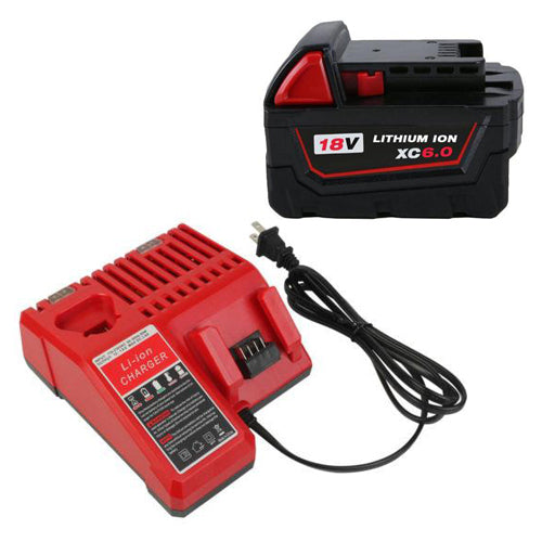 For Milwaukee 18V M18 6.0Ah Li-ion Battery Replacement & For Milwaukee 12V-18V Lithium Battery Charger