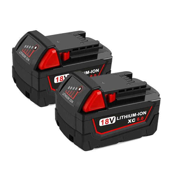 Milwaukee M18 | M18 18V Battery | Milwaukee M18 18V Battery Replacement | 6.0Ah Li-ion Battery | two