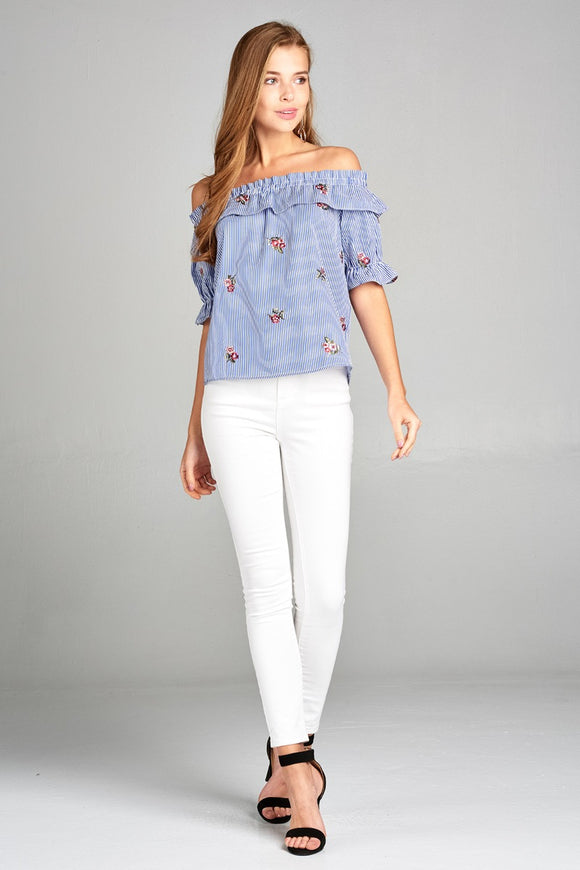 Ladies Fashion Off The Shoulder Ruffle Stripe Blouse