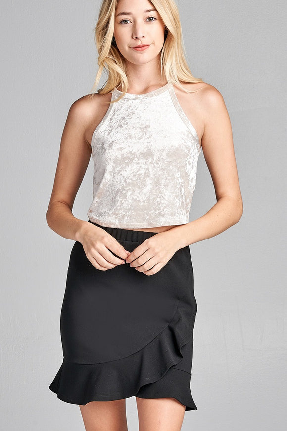 Ladies Fashion Halter Neck Ice Velvet Crop Top