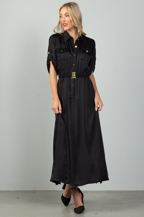 Ladies Fashion Button Down Belted Maxi Dress