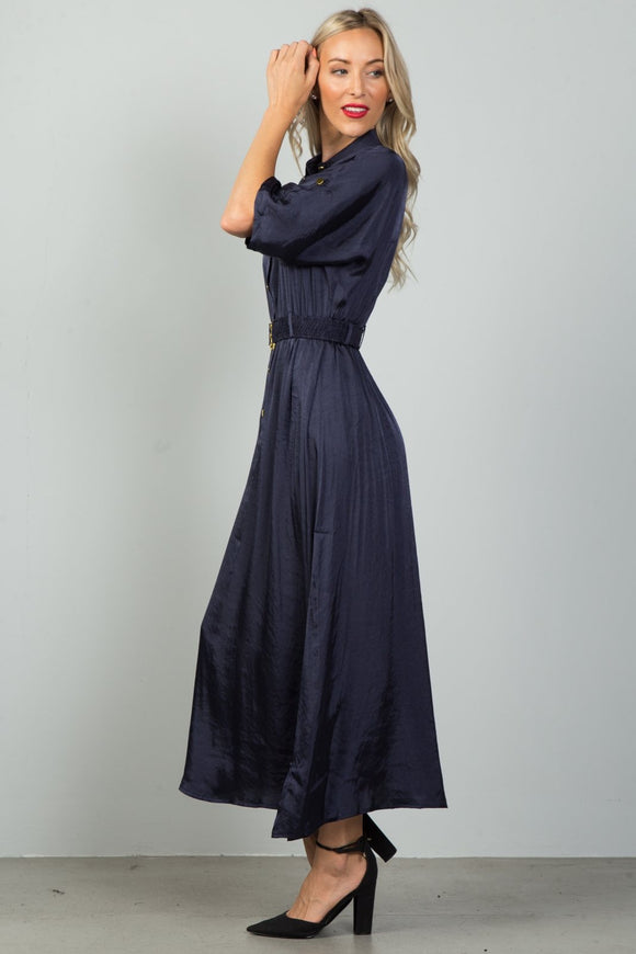 Ladies Fashion Button Down Elastic Belt Maxi Dress