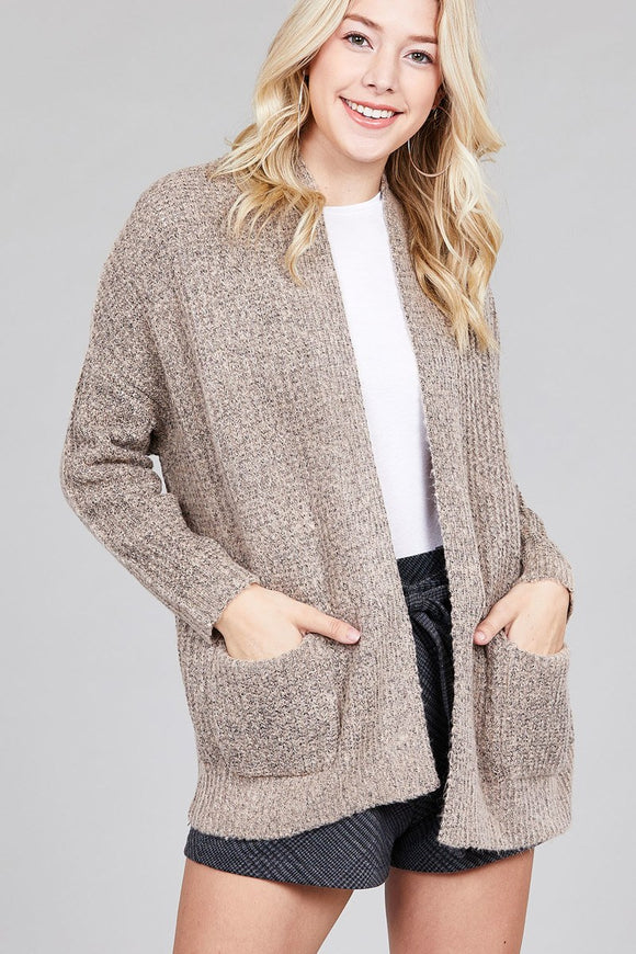 Ladies Fashion Dolmen Sleeve Construction Sweater Cardigan