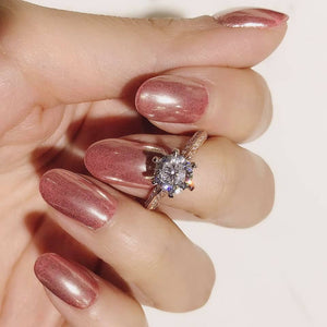 10K Rose Gold Classic 6 Claws Pave Solitaire Ring 10K金經典六爪碎鑽戒指 (10KR005)