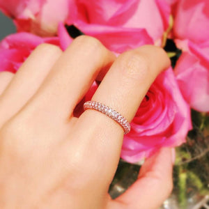 Isabelle Triple Row 2/3 Round Rose Gold Ring 三行排鑽2/3圈玫瑰金戒指 (JR063)