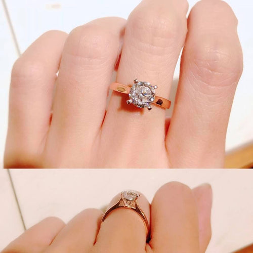 10K Rose Gold Classic Round Cut Solitaire Ring 10K金經典四爪戒指 (10KR007)