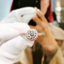 Load image into Gallery viewer, 10K Rose Gold Invisible Halo Pave Solitaire Ring 10K金包邊光環碎鑽戒指 (10KR013)