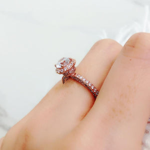 10K Rose Gold Invisible Halo Pave Solitaire Ring 10K金包邊光環碎鑽戒指 (10KR013)