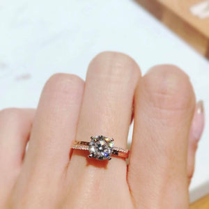 10K Rose Gold Classic Round Cut Fancy Solitaire Ring 10K金經典四爪上下排鑽戒指 (10KR006)