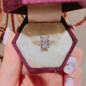 Radiant Cut Pave Solitaire Ring 君主方石碎鑽戒指 (JR056)