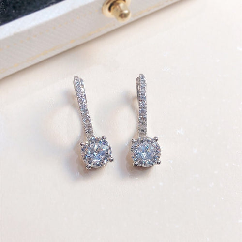 Classic Pave Round Cut 4 Claws Earrings