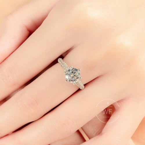 10K White Gold Classic 6 Claws Pave Solitaire Ring 10K金經典六爪碎鑽戒指 (10KR018)