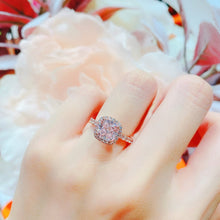 Load image into Gallery viewer, 10K Rose Gold PINK Cushion Halo Pave Solitaire Ring (10KR019)