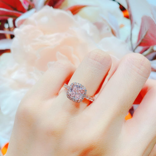 10K Rose Gold PINK Cushion Halo Pave Solitaire Ring (10KR019)