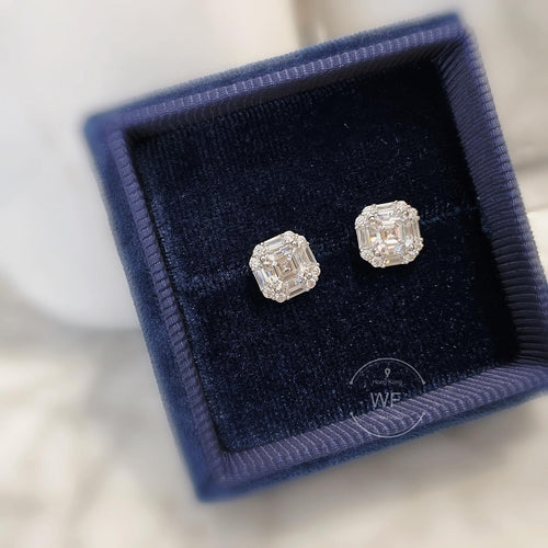 Asscher Halo Earrings (JE016)