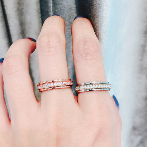 10K Rose Gold Eternity Pave Ring 10K金Eternity碎鑽戒指 (10KR009)