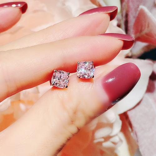 Pink cushion Cut Earrings (JE021)