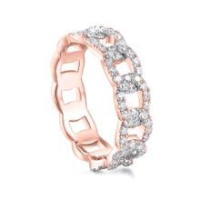 Load image into Gallery viewer, 10K Rose Gold Chain Pave Half Round Ring 10K金鎖鏈形碎鑽戒指 (10KR004)