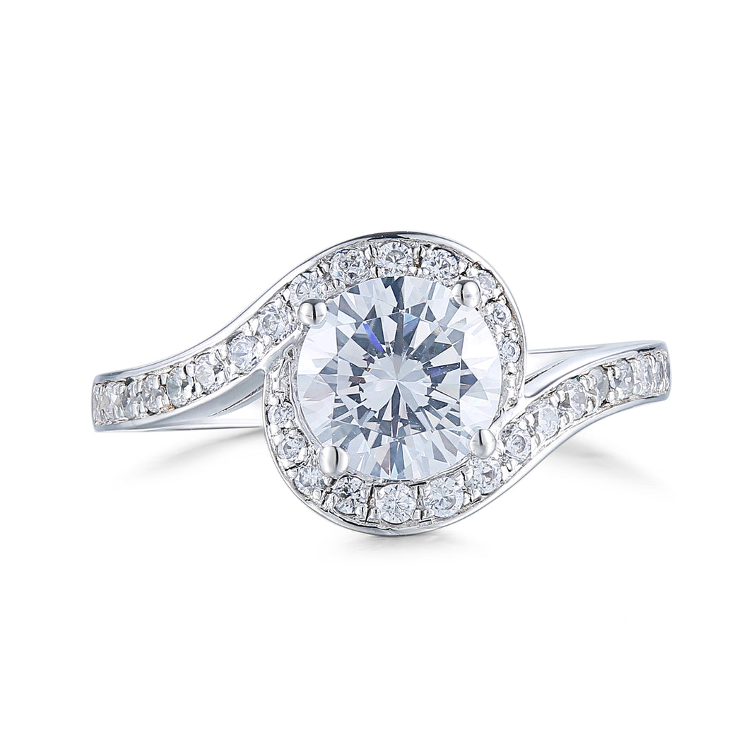 Round Pave Twisted Solitaire Ring (JR059)