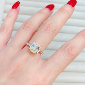 Cushion Halo Pave Solitaire Ring (JR073)